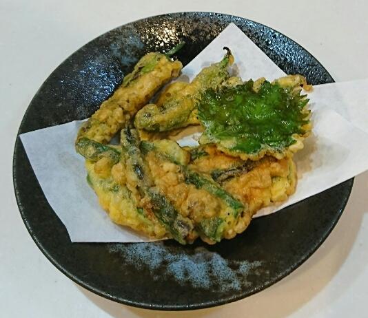 庭の野菜の天ぷら